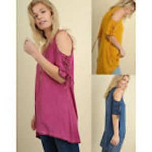 UMGEE Lace-Up Sleeve Cold Shoulder Long Tunic Top